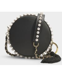 Mother Of Pearl - Rena Small Circle Bag In Black Calfskin - Lyst