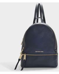 MICHAEL Michael Kors - Rhea Zip Medium Backpack In Blue Calfskin - Lyst
