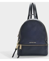 28191a8cf29f MICHAEL Michael Kors - Rhea Zip Medium Backpack In Blue Calfskin - Lyst