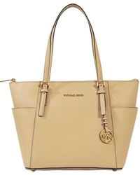 f6948d144d57e MICHAEL Michael Kors - Jet Set Item Ew Top Zipped Tote Bag In Oyster  Saffiano Leather