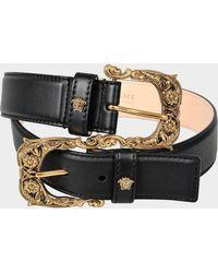 Versace - Double Belt In Black Calf - Lyst
