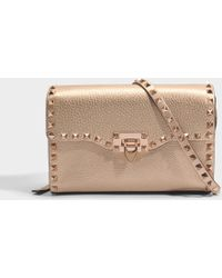 Valentino - Metallic Rockstud Medium Shoulder Bag In Rose Gold Grained Metallic Calf - Lyst