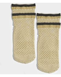 Maria La Rosa - Teenage Netted Socks In Gold Polyamide, Elastane And Polyester - Lyst