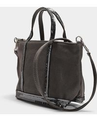Vanessa Bruno - Canvas And Sequins Baby Tote In Steel Grey Cotton - Lyst