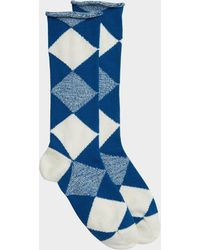 Burberry - Army Check Socks In Cobalt Blue Wool - Lyst