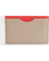 Loewe - Simple Card Holder In Sand And Red Soft Grained Calf And Boxcalf - Lyst