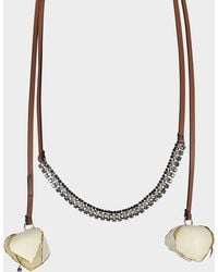 Marni - Choker Necklace In Ivory Fabric And Strass - Lyst