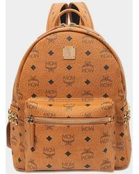 MCM - Stark Small Backpack in Cognac Coated Canvas - Lyst