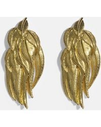 Aurelie Bidermann - Elvira Feathers Clip Earrings In 18k Gold-plated Brass - Lyst