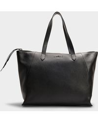 Hogan - Nuova Shopping Cuisa Senza Piping Tote In Black Grained Calfskin - Lyst