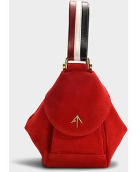 MANU Atelier - Fernweh Micro Bag In Red, White And Black Suede Leather And Vegetable Tanned Calfskin - Lyst