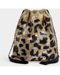 Attico - Full Sequins Leopard Pouch Bag In Leopard Print Silk And Sequins - Lyst
