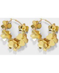 Oscar de la Renta - Flower Garden Hoop Earrings In Gold Synthetic - Lyst