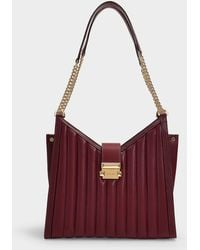 MICHAEL Michael Kors - Whitney Medium Chain Shoulder Tote Bag In Oxblood Quilted Lambskin - Lyst
