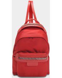 Stella McCartney - Eco Nylon Falabella Go Mini Backpack In Lipstick Eco Leather - Lyst