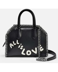 b2824a76550d Stella McCartney - All Is Love Falabella Box Tiny Tote Bag In Black And  Ivory Polyurethane