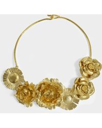 Aurelie Bidermann - Selena Necklace With Flowers In 18k Gold-plated Brass - Lyst