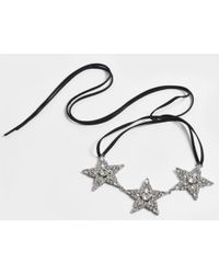 Helene Zubeldia - Ribbon Choker With Crystal Stars - Lyst