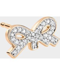 Ginette NY Single Tiny Diamond Star Stud Earring in 18K Rose Gold and Diamonds G0RsrS8q