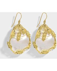 Aurelie Bidermann - Françoise Pendant Earrings In Mother-of-pearl And Gold Plated Brass - Lyst