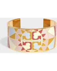 Tory Burch - Constellation Medium Enamel Cuff In Pink Metal - Lyst