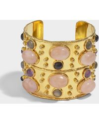 Sylvia Toledano - Byzance Cuff Bracelet In Gold-plated Brass With Pink Quartz - Lyst