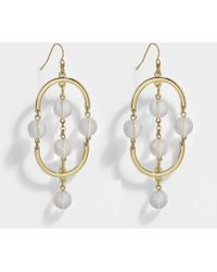 Aris Geldis - Pink Quartz Double Dome Earrings In Gold And Pink Quartz Plated Brass - Lyst