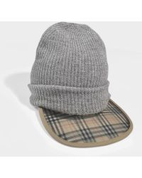 Burberry - 1983 Check Wool Cashmere Peaked Beanie In Grey Wool - Lyst