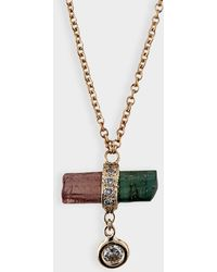 Jacquie Aiche Pave Watermelon Crystal Bar Necklace In 14k Rose Gold And Diamonds
