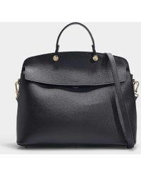 Furla - My Piper Medium Top Handle Bag In Black Calfskin - Lyst