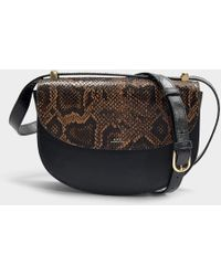 A.P.C. - Genève Bag In Black Cracked Leather And Snake Embossed Leather -  Lyst 5dfa7fed85c65