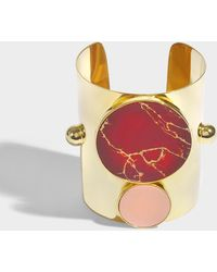 Joanna Laura Constantine - Monochrome Statement Cuff Bracelet In Gold-plated Brass With Yashma And Light Pink Coral - Lyst