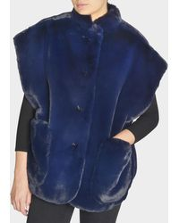 Burberry - Parkmill Cape In Navy Faux Fur - Lyst