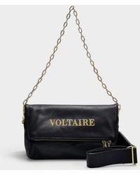 Zadig & Voltaire - Tasche Rocky Voltaire aus schwarzem Kalbsleder - Lyst