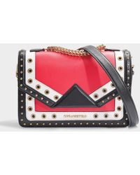 9a88aa80bc3b Karl Lagerfeld - K klassik Special Eyelets Shoulder Bag In Red Calfskin -  Lyst
