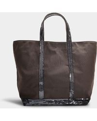 Vanessa Bruno - Canvas And Sequins Medium + Tote In Steel Gray Cotton - Lyst