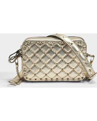 Valentino - Metallic Rockstud Spike Crossbody Bag In Gold Metallic Calf - Lyst