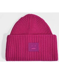 Acne Studios - Pansy N Face Beanie In Magenta Pink Wool - Lyst