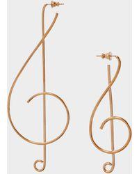 Stella McCartney - Treble Clef Earrings In Vintage Gold Brass - Lyst
