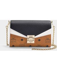 2892fb09c MCM - Millie Visetos Leather Block Small Crossbody Bag In Cognac And Black  Coated Canvas -