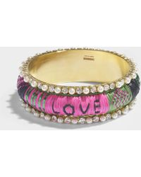 Shourouk - Kashmiri Pink Bracelet In Pink Brass, Swarovksi Crystals And Raffia - Lyst