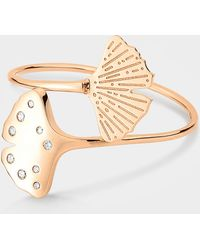 Ginette NY - Diamond Gingko Double Ring In 18k Rose Gold - Lyst