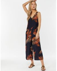 090258ff08c Madewell Palm Print Jumpsuit - Bright Ivory in White - Lyst
