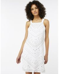 Monsoon - Perry Embellished Short Dress - Lyst