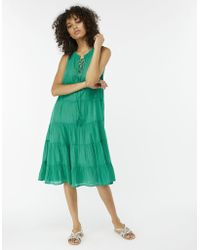 Monsoon - Mila Pure Cotton Tiered Midi Dress - Lyst