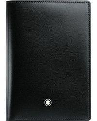 Montblanc - Meisterstück Black Leather Wallet With Four Credit Card Holder Slots Wallet Black - Lyst