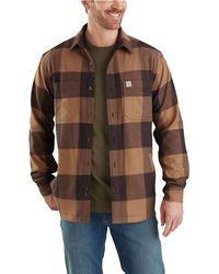 3cc92e00553 Lyst - Carhartt Rugged Flex Hamilton Fleece Lined Shirt in Red for ...