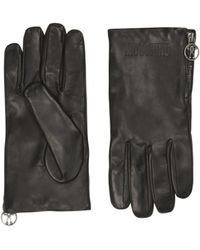 Moschino - Gants En Peau Avec Logo Double Question Mark - Lyst