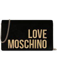 Love Moschino Bolso De Noche De Terciopelo Con Logo - Negro
