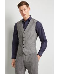 Hardy Amies - Tailored Fit Black And White Texture Waistcoat - Lyst